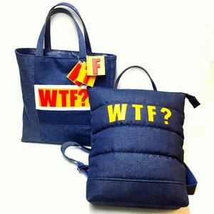 WTF Denim Patch Padded Tote Bag