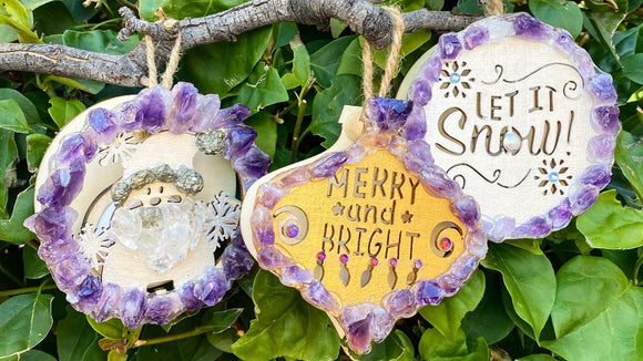Light up wood and gemstone Christmas ornaments