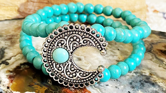 Natural Turquoise Silver Crescent Moon Gemstone Bracelet