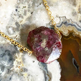 Gold Pink Tourmaline Nugget Necklace