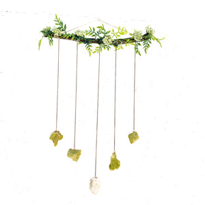 Gemstone Wall Hanging with Green Opal and Candle Quartz