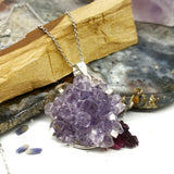 Amethyst Flower Silver Charm Necklace