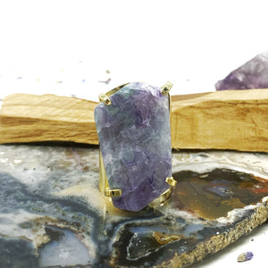 Rainbow Fluorite Gold Rings