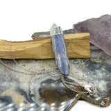 Blue Kyanite Silver Charm Necklace