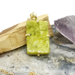 Serpentine Rectangle Gold Charm Necklace
