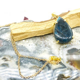 Blue Apatite Teardrop Gold Charm Necklace