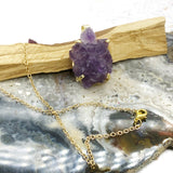Amethyst Flower Gold Charm Necklace