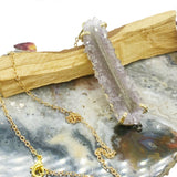Amethyst Stalactite Gold Charm Necklace