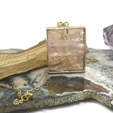 Rose Quartz Rectangle Gold Charm Necklace