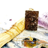 Druzy Rectangle Gold Necklace