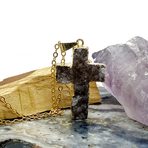 Druzy Cross Gold Necklace
