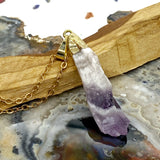 Chevron Amethyst Gold Necklace