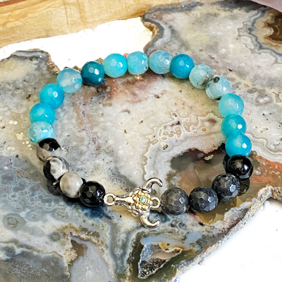 Cattle Skull Charm Bracelet with Teal and Black Agate