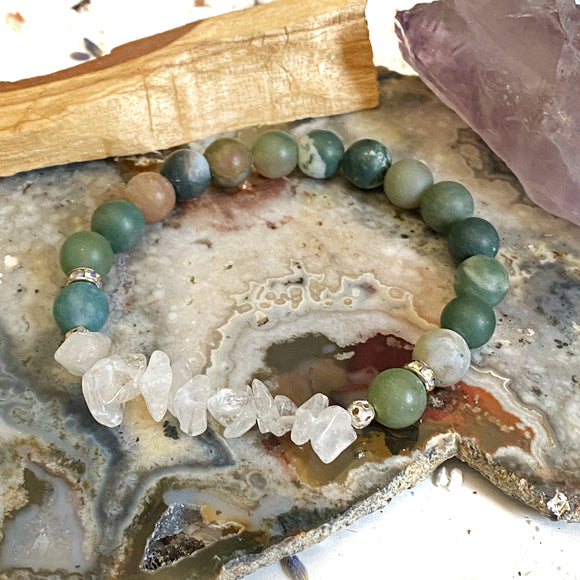 Fancy Jasper and Crystal Quartz Bracelet