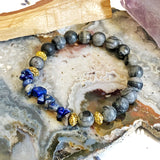Network Agate and Lapis Lazuli Bracelet