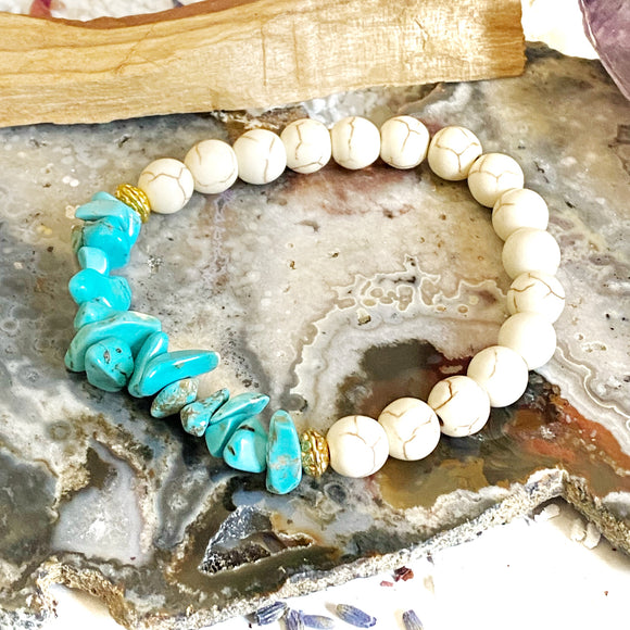 Howlite and Turquoise Howlite Bracelet