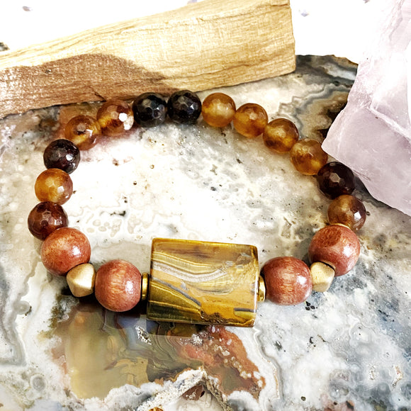 Brown Agate and Tiger Eye Bracelet