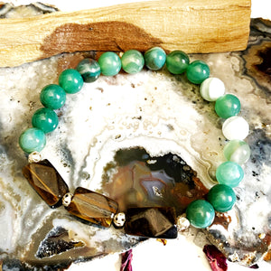 Green Agate and Tiger Eye Bracelet