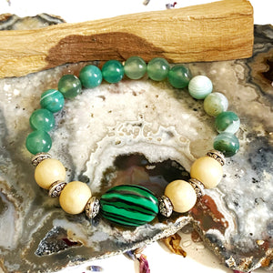 Green Agate and Malachite Bracelet