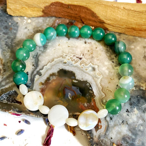 Green Agate and Pearl Bracelet