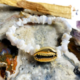 Gemstone Chip and Gold Cowrie Charm Bracelet