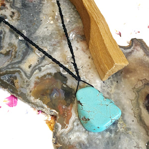 Crystal Quartz Crochet Necklace with Freeform Turquoise Howlite Charm