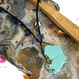 Blue Quartz Crochet Necklace with Freeform Turquoise Howlite Charm