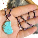 Amethyst Crochet Necklace with Freeform Turquoise Howlite Charm