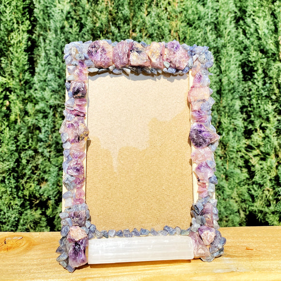 Amethyst, Iolite and Selenite Picture Frame