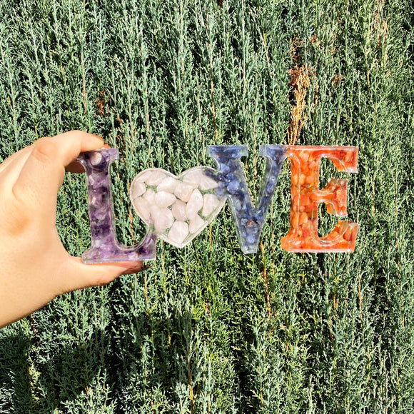 Mixed Stone and Resin LOVE Sign