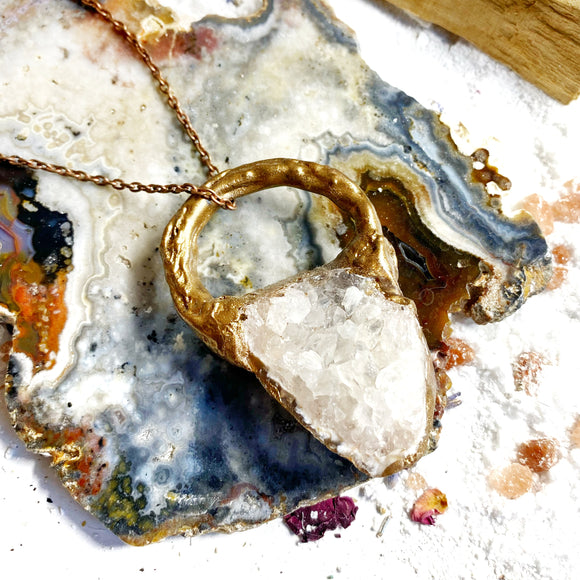 White Agate Druzy Geode Copper Necklace