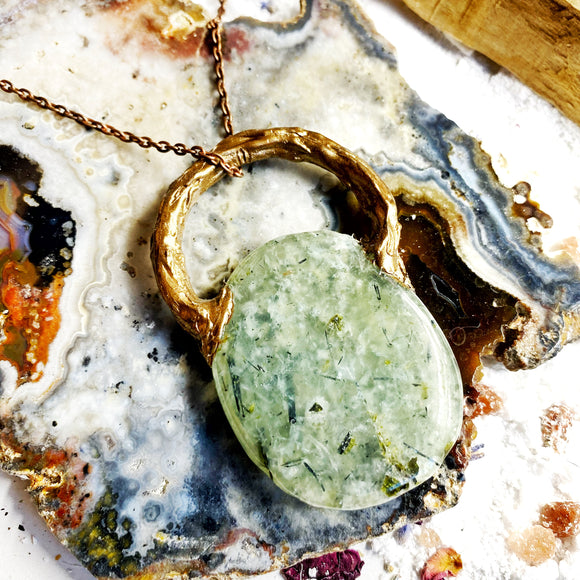 Prehnite Copper Necklace