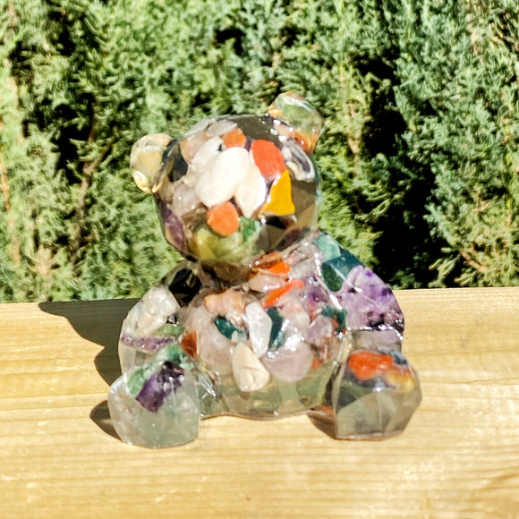 Chakra Mixed Stone and Resin Teddy Bear