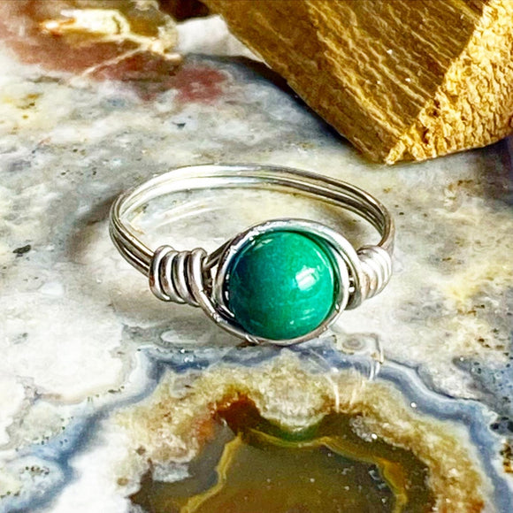 Chrysocolla silver wire wrapped ring