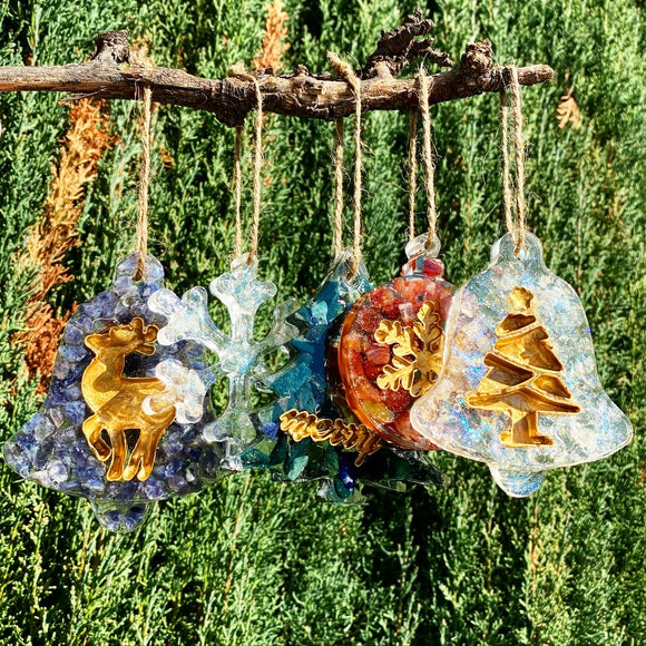 Gemstone and Resin Christmas Ornaments Set of 4