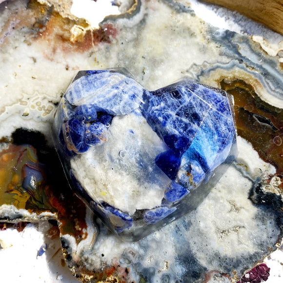 Sodalite and Resin Large Fancy Heart