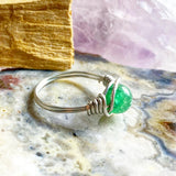 Green aventurine silver wire wrapped ring