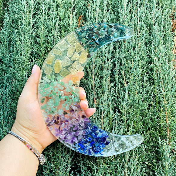 Chakra Gemstone and Resin Crescent Moon Tray