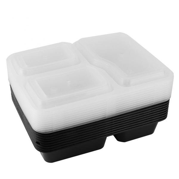 10Pcs 3 Compartment Food Storage Container