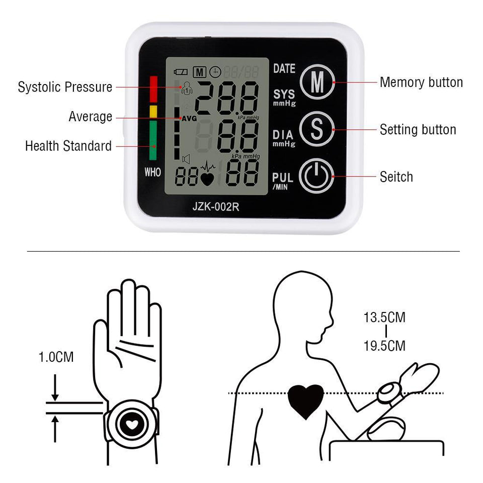 Digital Wrist Blood Pressure and Pulse Monitor