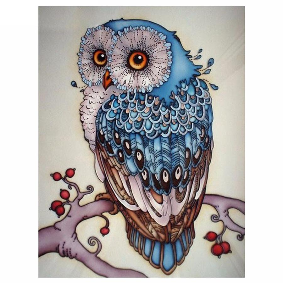 Blue Owl 5D DIY Mosaic Pixel Diamond Painting