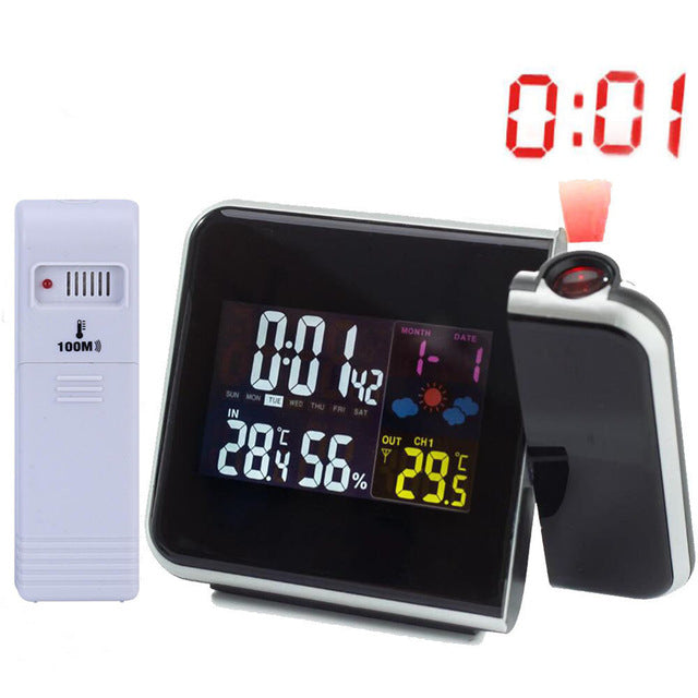 Digital LCD Screen Led Projector Alarm Clock Weather Station
