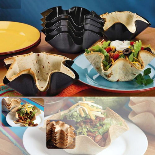 1pcs6 Tortilla Pan Nonstick Taco Salad Bowl Baking Mold Kitchen Tool Black