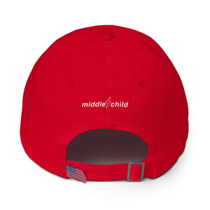 Middle Child Lightning Bolt Dad Hat Red