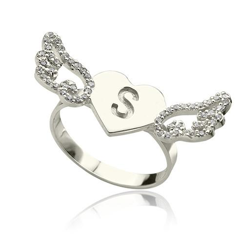 Heart Angel Wings Ring Engraved Initial & Birthstone Sterling Silver