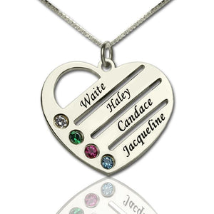 Personalized Mothers Heart Necklace Gift with Birthstone & Name