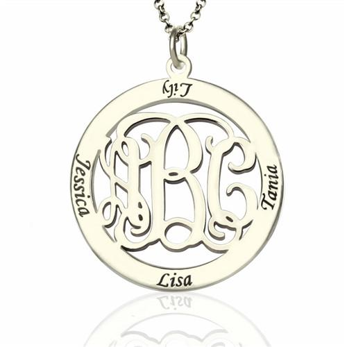 Personalized Family Monogram Name Necklace Sterling Silver