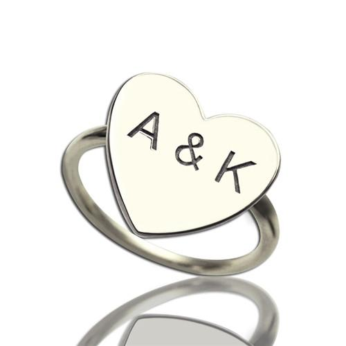 Engraved Sweetheart Ring with Double Initials Sterling Silver