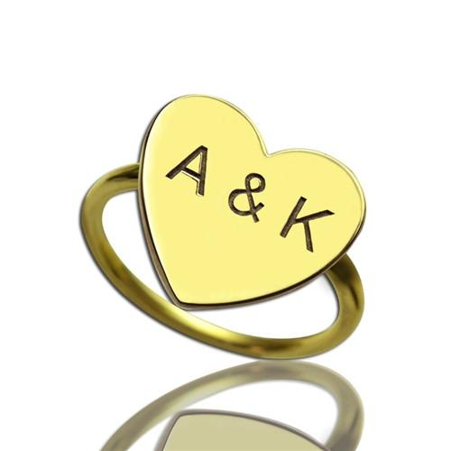 Engraved Sweetheart Ring with Double Initials 18k Gold Plated