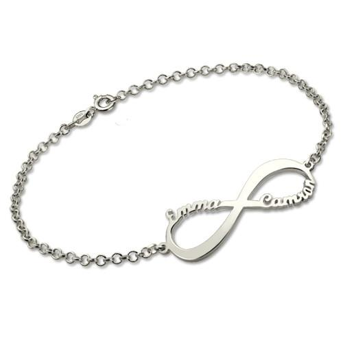 Personalized Infinity Symbol Name Bracelet In Sterling Silver